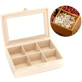 6 Compartments Wooden Tea Bag Box Kitchen Spice Display Storage Chest Essential Oil Container