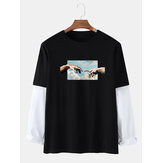 Mens Figure Hand Sky Graphics Cotton Casual Doctor Sleeve T-Shirts