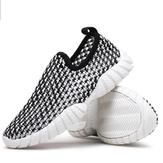 Mens Driving Slip på Loafers Running Summer Andas Mesh Casual Shoes