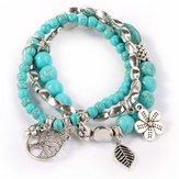 Bracelet multicouche de perles Turquoise Bohème bleu multicolore