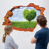 Miico Creative 3D Love Tree Scenery Broken Wall Removable Home Room Decorative Wall Decor Sticker