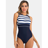 Women Striped Print Mesh Back Closure Backless Stretchy Swimwear