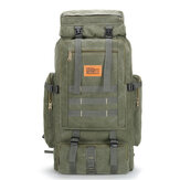 80L Large Capacity Outdoor Military Hiking Canvas Backpack Rucksack Travel Bags