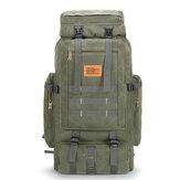 80L大容量屋外軍事ハイキングキャンバスバックパックリュックサックトラベルバッグ
