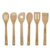 6pcs ustensile cuillère en bois ensemble cuisine cuisine bambou outils kit de spatule en bois