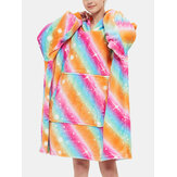 Women Rainbow Flannel Fleece Lined Warm Thick Oversized Blanket Hoodie With Front Pocket