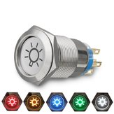 19mm 12V LED IP65 Pulsante On Off Dome Light Switch