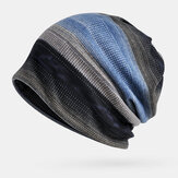 Unisex Dual-use Plus Velvet Warm Thick Striped Outdoor Casual Personality Brimless Beanie Scarf
