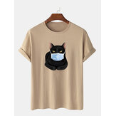 Fashion Cartoon Cat Mask Printing T-shirts met korte mouwen en O-hals