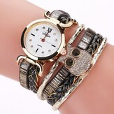 DUOYA DY114 Cute Style Owl Ladies Bracelet Watch Gift Leather Strap Quartz Watches