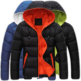 Herren Winter Thermokontrast Farbe Outdoor Warm Hooded Padded Jacket
