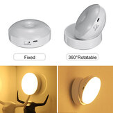 360 Degree Rotation LED Motion Sensor Night Light USB Rechargeable Lamp with Magnetic Base for Stairs Bedroom Bathroom Kitchen Hallway White/Warm Light