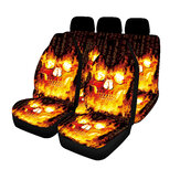 1/2/7PCS Car Seat Cover Set Universal Fit Flame Skull Seat Protection Cover