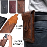 Hombres Faux Leather Universal Vertical 6.5inch Phone Cinturón Clip Holster Waist Bolsa