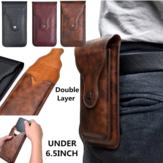 Мужчины Искусственная кожа Универсальный вертикальный 6,5-дюймовый телефон Ремень Клип Кобура Талия Сумка