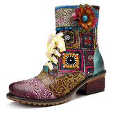 SOCOFY Cowgirl Casual Genuine Leather Floral Splicing Zipper Square Heel Ankle Boots