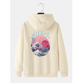 MensJapanese Style Print Drop Shoulder Kangaroo Pocket Long Sleeve Hoodies