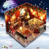 Kit di mobili per la casa di bambole in legno fai da te luce a led Miniature Christmas Room Puzzle Toy Gift Decor