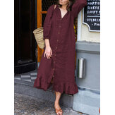 Women Casual Solid Color Puff Sleeve Button Ruffles Hem Shirt Dress