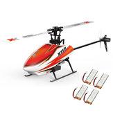 XK K110 Blast 6CH Brushless 3D6G System RC Hubschrauber BNF mit 4 Stück Batterie