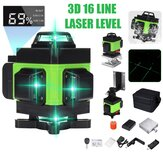 LED Display 3D 360° 16 Line Green Light Laser Level Cross Self Leveling Measure Tool