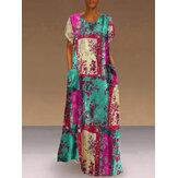 Kadın Soyut Baskı Kısa Kollu Vintage Maxi Elbise