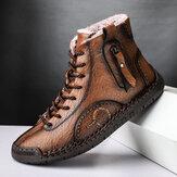 الرجال خياطة يدوية ستوكات جلدية الدافئة أفخم بطانة Soft حذاء الكاحل