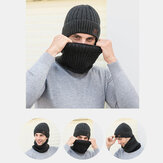 Men 2PCS Plus Velvet Thick Elastic Windproof Keep Neck Protection Warm Headgear Scarf Wool Beanie