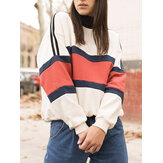Women Patchwork Color High Neck Pullover Long Sleeve Sweatshirts