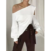 Chic Casual Loose Cold Shoulder Irregular Hem Solid Color Blouse For Women