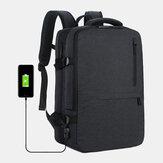 Homens Oxford Capacidade de extensão USB Carregamento Multi-bolso Business Laptop Bolsa Mochila