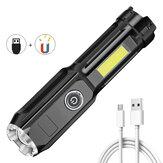 XANES®ダブルライト多機能ズーム可能懐中電灯、COBサイドライト、バッテリー、磁気テール、USB充電式防水超高輝度ポータブルLEDトーチ