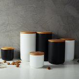 Ceramic Storage Jars Wooden Lids Tea Coffee Sugar Canisters Kitchen Container