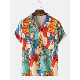 Mens Cartoon Cat Print Revere kraag casual shirts met korte mouwen