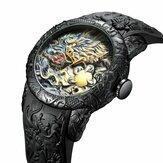 BIDEN BD129 Retro Dragon النمط الصيني ساعة يد رجالية ضد للماء سيليكون حزام ساعة كوارتز