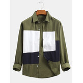 Cotton Solid Color Patchwork Button Up Long Sleeve Design Shirts For Men