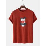 面白い漫画のフェイスプリント半袖コットン通気性Tシャツ