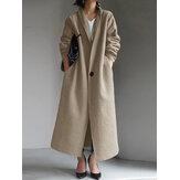 Casaco feminino simples de lã com gola dobrável, casaco longo com bolsos laterais