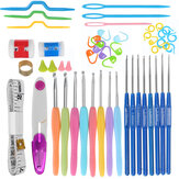 57pcs Crochet Hook Needle Knit Weave Craft Yarn Knitting Sewing Accessories Set