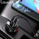 USAMS 42W 2-poorts USB PD-autolader QC4 + QC3.0 PD3.0 SCP FCP Snel opladen LED Digitaal display voor iPhone 11 SE 2020 voor Samsung Galaxy Note 20 Mi10 Huawei P40