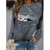 Women Striped Cute Cat Print Round Neck Long Sleeve Casual Blouse