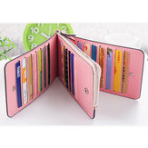 Women Microfiber Leather Multi Card Slots Wallet Phone Bag