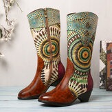 SOCOFY Women's Splicing Tribal Pattern Zipper Western Cowboy Boots