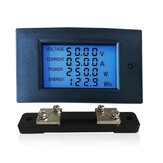 WZ-DM50 Voltmeter Ammeter 100V 50A Power Meter Electric Energy Meter Voltage Alarm with Shunt LCD Display Screen Circuit Monitor