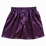 INCERUN Casuais Mens Faux Silk Boxer Shorts Sleepwear