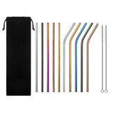 Ensemble de 10 gobelets multicolores en acier inoxydable pour pailles Gobelet pour boisson froide paille avec pinceau