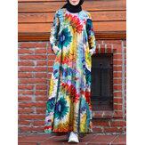 Vintage Floral Print Tie Dye Kontrastfarge Kaftan Tunika A-line Tiered Muslim Dress