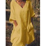 Sólido manga curta com decote em v bolso vestido casual