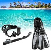 HHAOSPORT 3PCS / Set Snorkel Mascara Gafas de natación + Tubo de respiración bajo el agua + Aletas de buceo Equipo de buceo