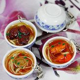 Symulacja Duża miska Chińskie jedzenie z porcelanową łyżką Breloczek do dekoracji wnętrz